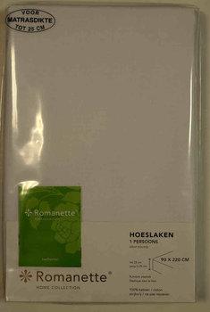 Romanette hoeslaken 70 x 200 wit, 25 cm hoog rondom elastiek.
