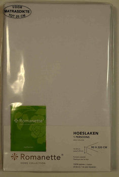 Romanette hoeslaken 140 x 200 wit, 25 cm hoog rondom elastiek